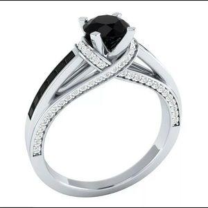 Round Cut Black Sapphire 925 Silver Ring